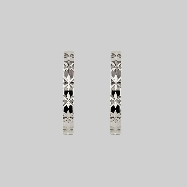 BROOKE. Etched Starburst Hoop Earrings - Silver
