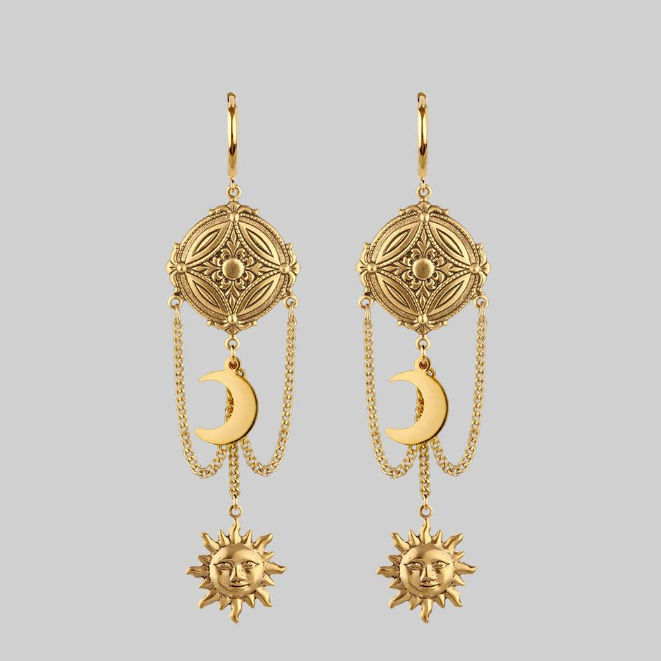 gold sun and moon detail earrings, hanging earrings
