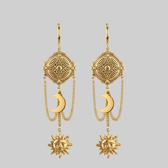 EQUINOX. Celestial Path Chain Hoop Earrings - Gold
