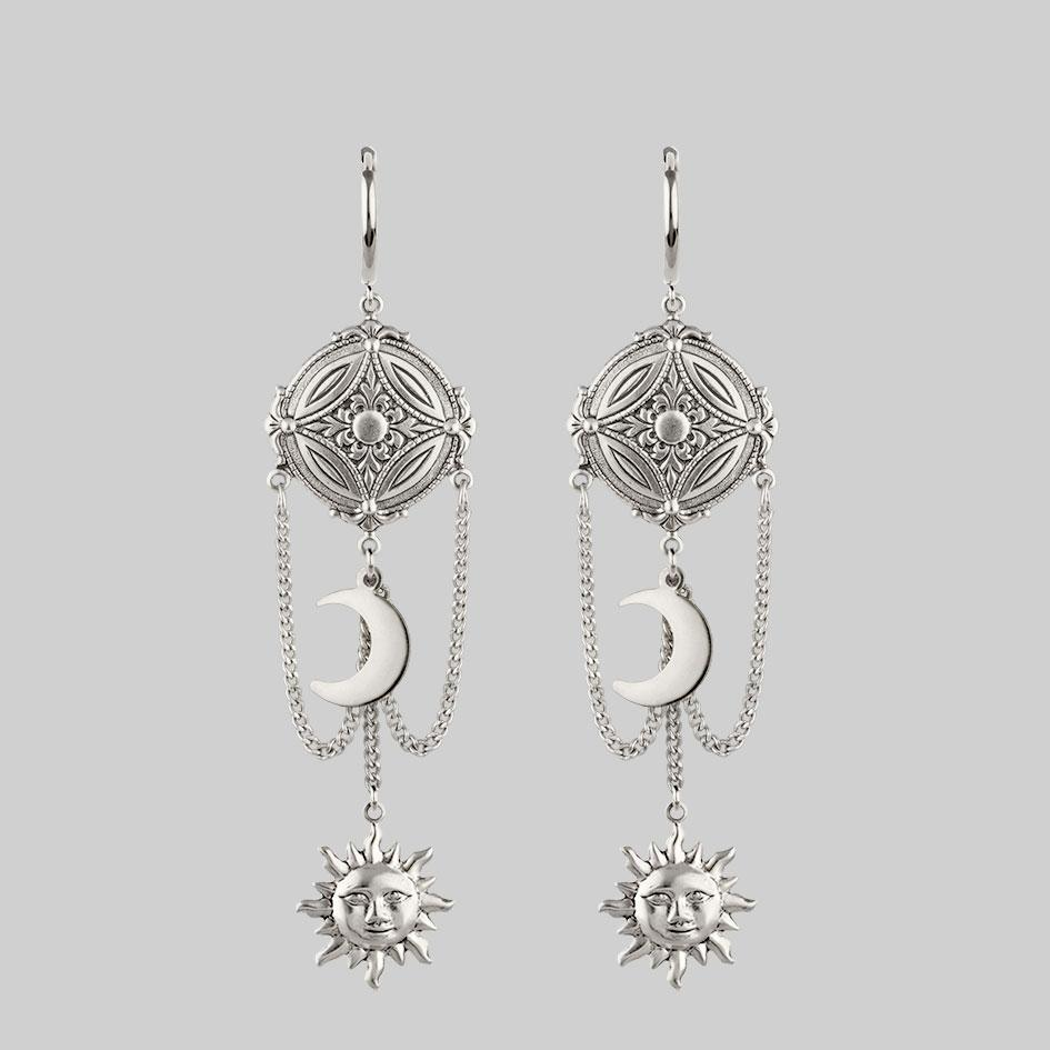 silver sun and moon detail earrings, hanging earrings