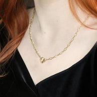 infinity t-bar chain necklace gold