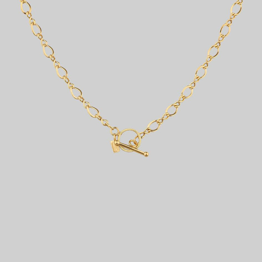gold infinity chain necklace with t-bar clasp