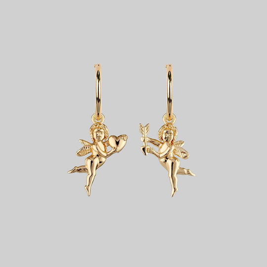 Cupid & Psyche Lovers Hoop Earrings - Gold