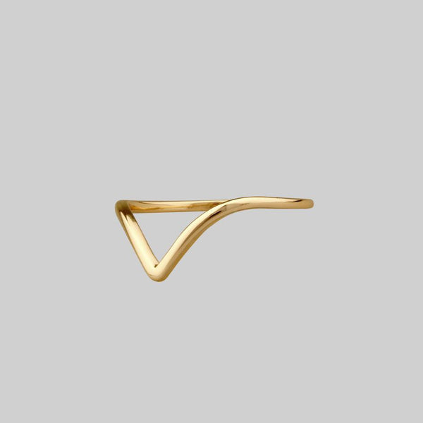 gold simple chevron curved ring