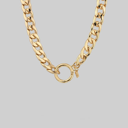 XO. Chunky Chain & Circle Clasp Necklace - Gold