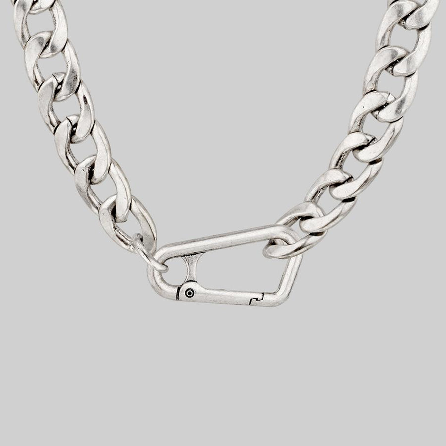 chunky silver fob chain necklace