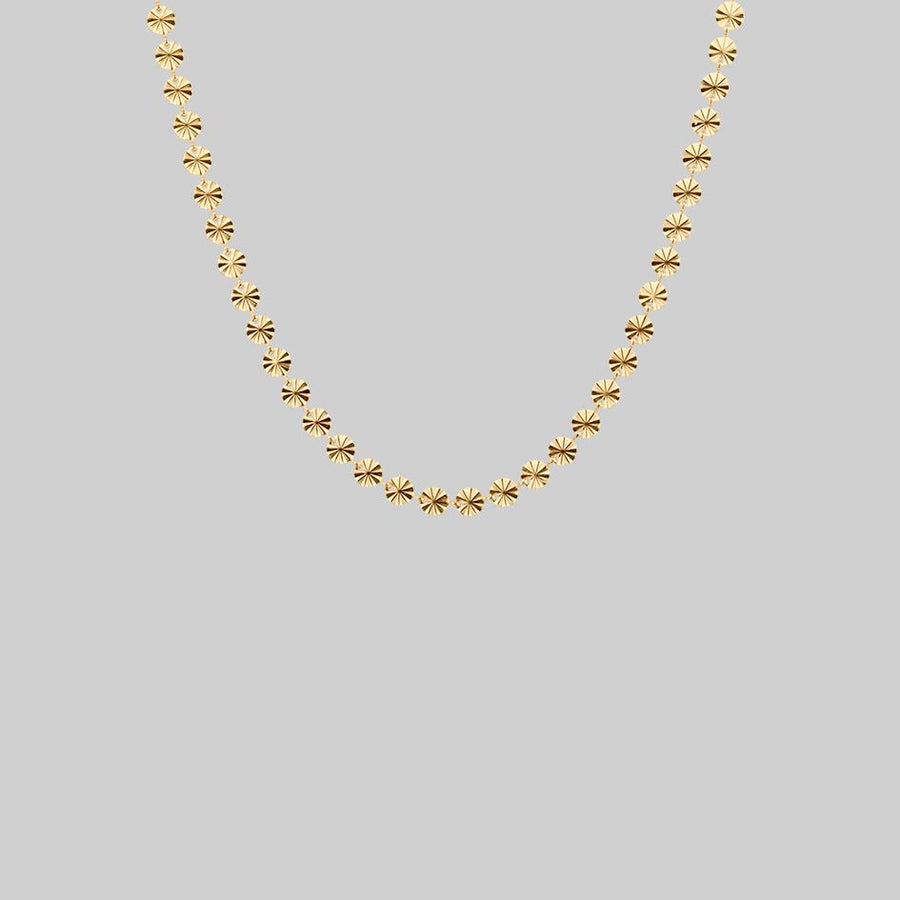 Sunburst circle collar necklace gold