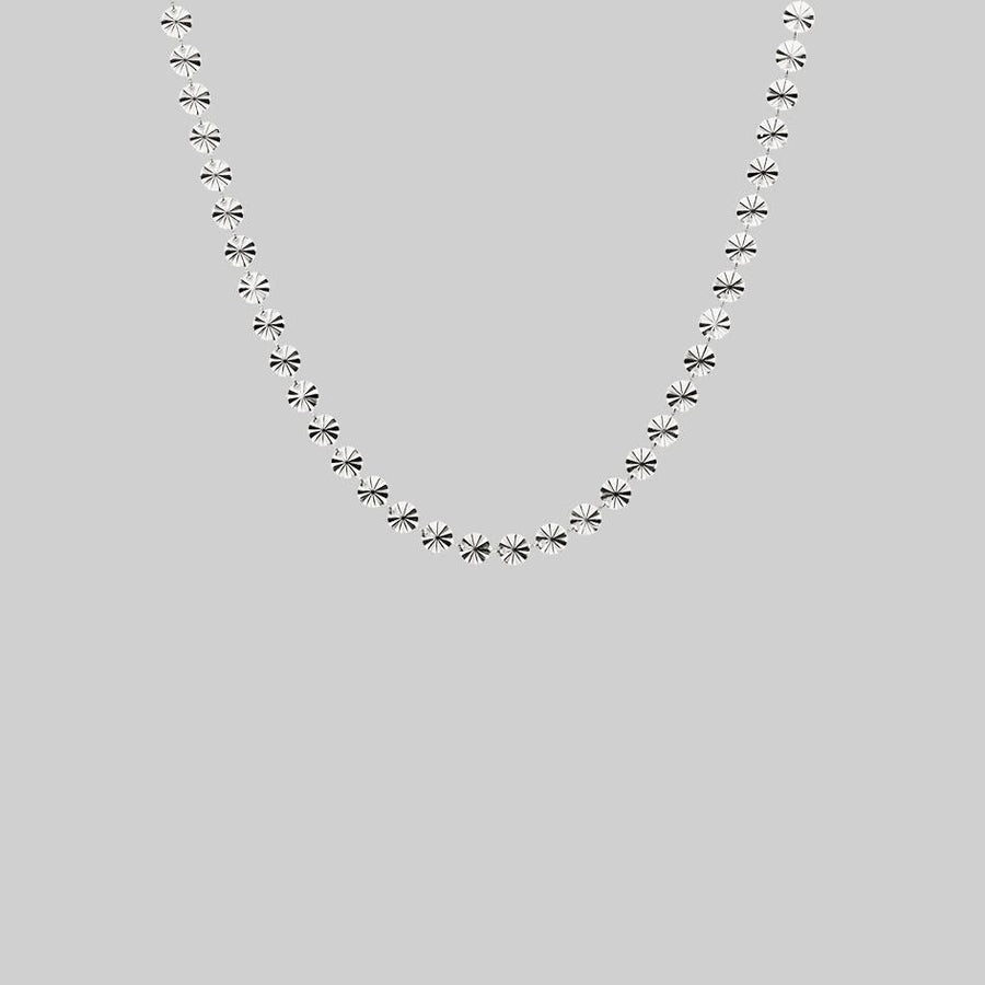 Sunburst circle collar necklace silver