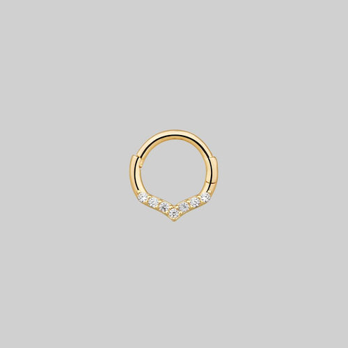 chevron diamond septum ring gold