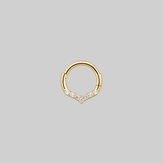 CUPID. Chevron Gold Clicker Ring - Septum/Daith/Forward Helix