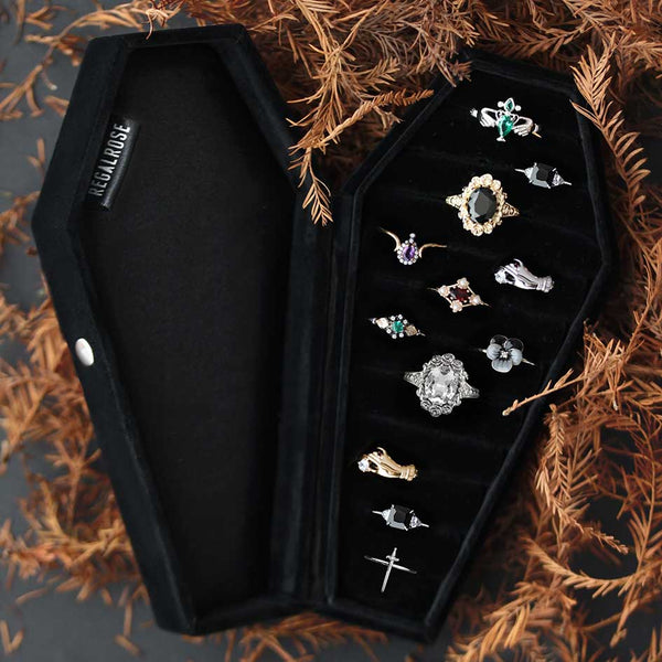 The Black Velvet Coffin Ring Box