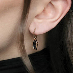 coffin skeleton earring