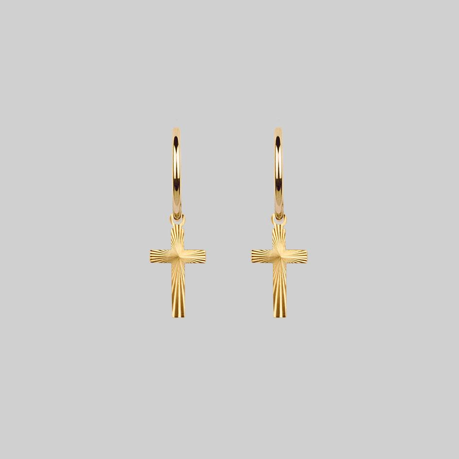 sunburst cross hoop 9k gold earrings