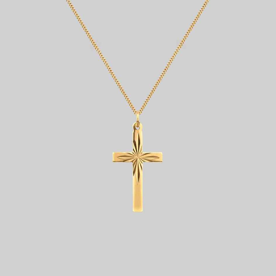 gold sunburst cross necklace