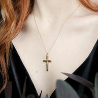 9k gold cross necklace