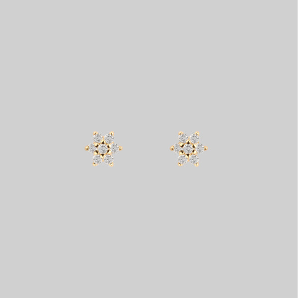 ANGELIC. Cubic Zirconia Star Gold Stud Earrings