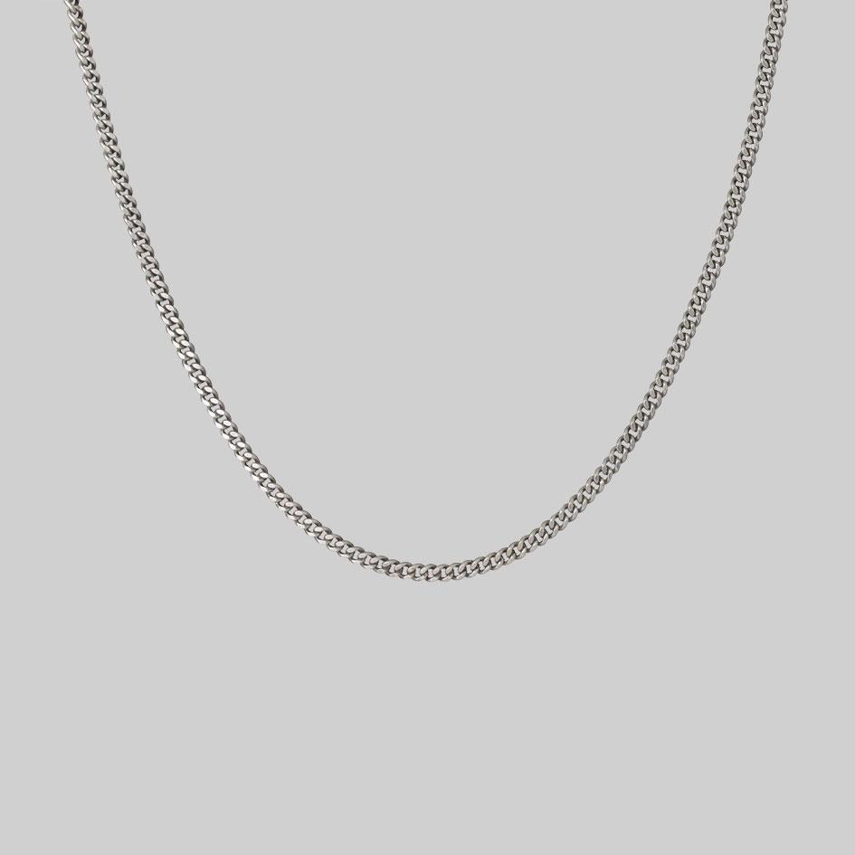 Sterling silver curb chain, unisex necklace