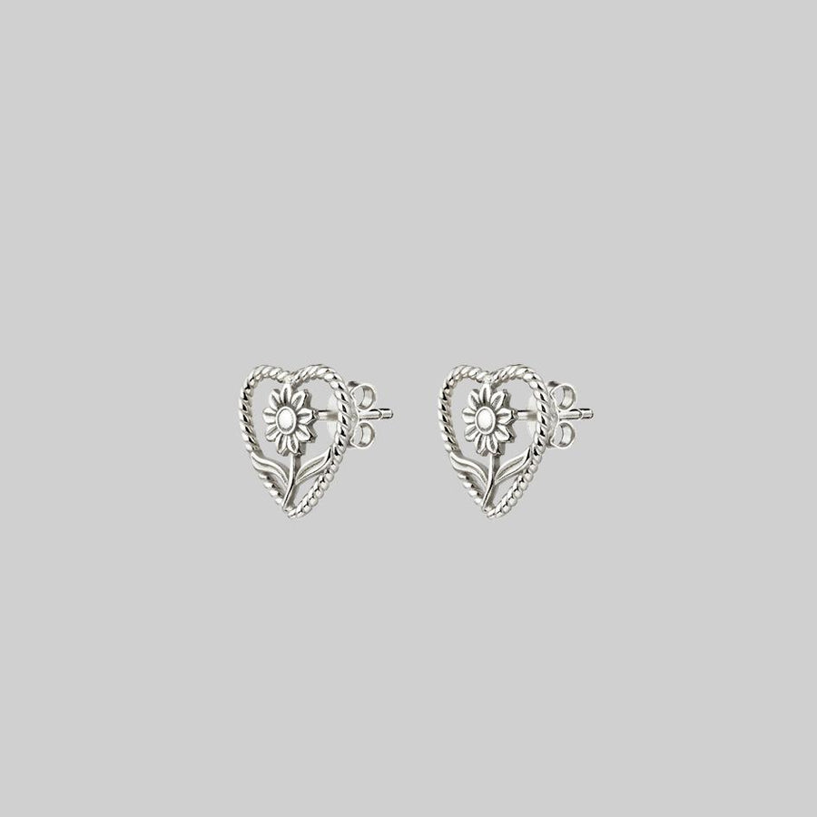 cute flower heart silver earrings