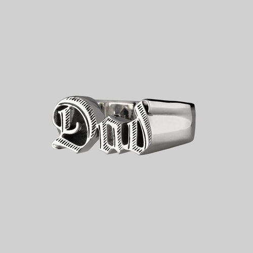 chunky silver word ring