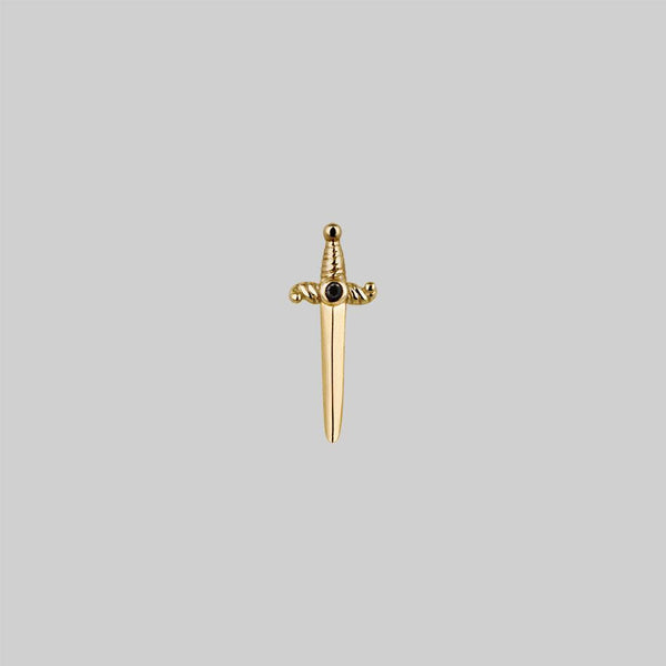 BETRAYAL. Gold & Black Spinel Dagger Earring - Helix/Tragus