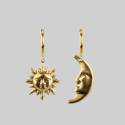 DAY TO NIGHT. Sun & Moon Hoop Earrings - Gold