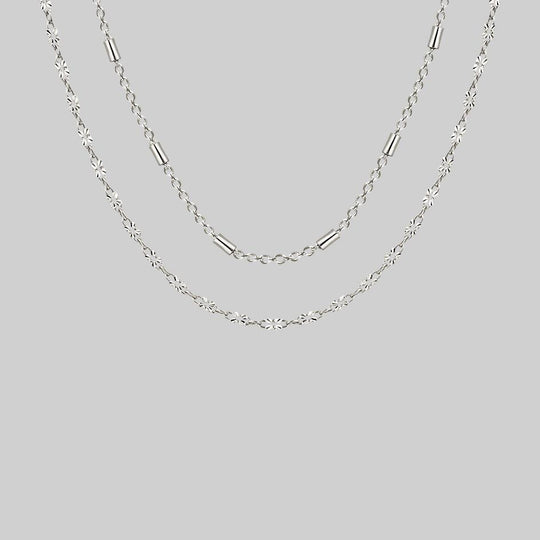 PURITY. Delicate Double Chain Necklace - Silver