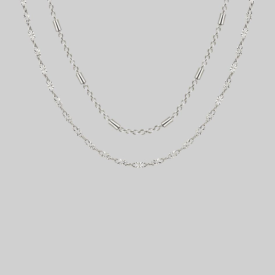 delicate silver layering necklaces