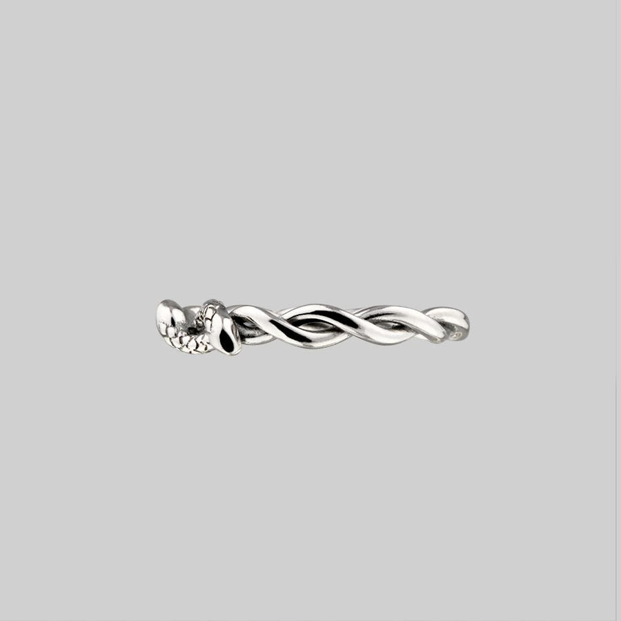 double headed twisted snake ring silver