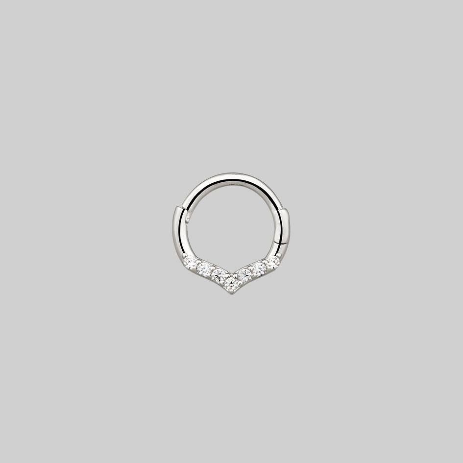 chevron diamond septum ring silver