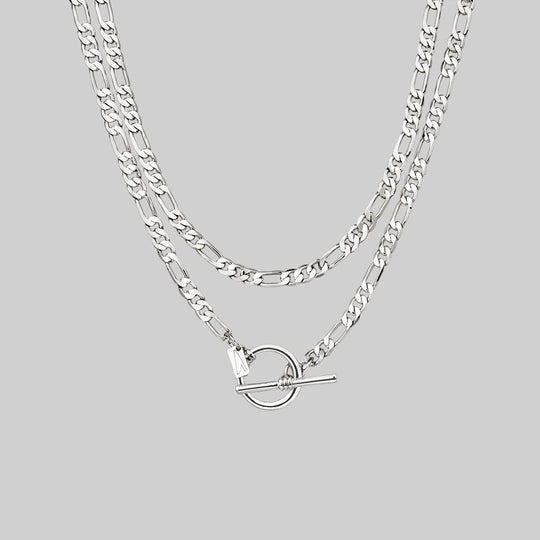 HARMONY. Double Wrap T-Bar Chain - Silver