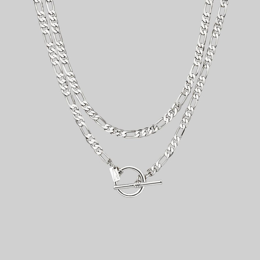 silver double wrap chain necklace