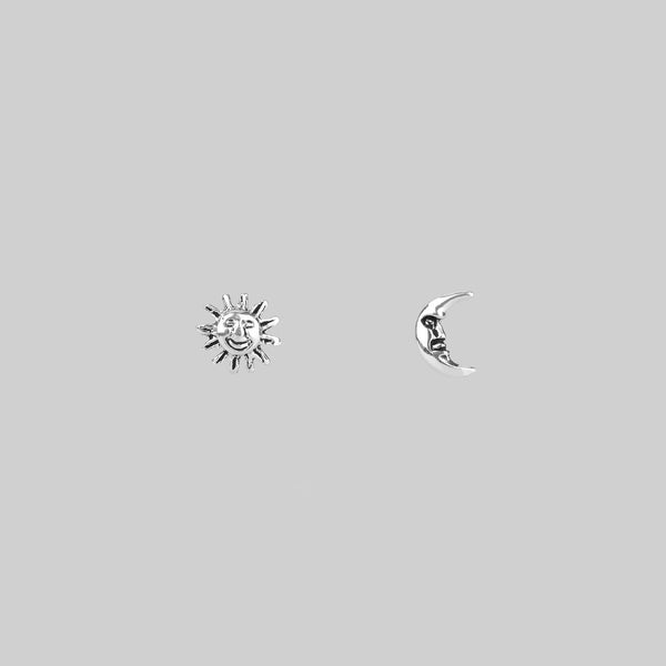Earrings - DUSK TILL DAWN. Tiny Sterling Silver Sun & Moon Studs
