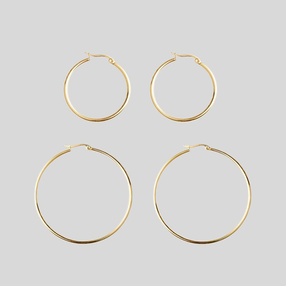 Earrings - Gold Hoop Earrings - Set Of 2