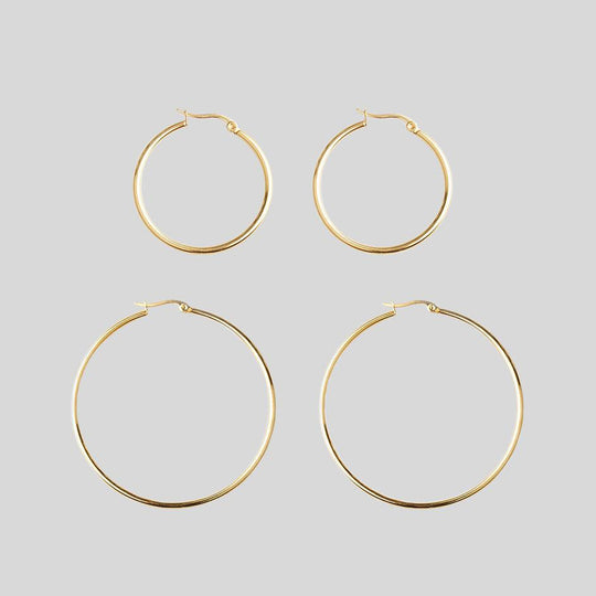 Gold Hoop Earrings - Set of 2