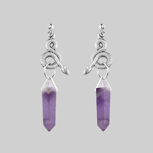 MERTLE. Snake Wrap Amethyst Earrings