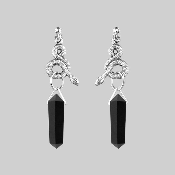 MERTLE. Snake Wrap Black Agate Earrings