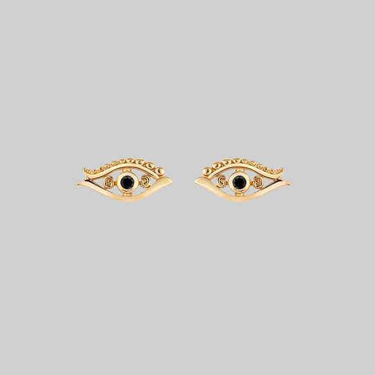 ORIUS. All Seeing Black Spinel Eye Stud Earrings - Gold
