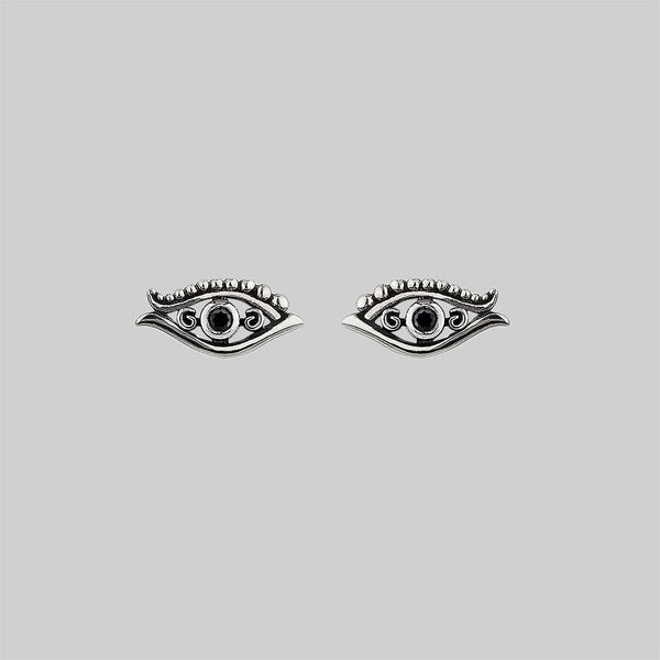 ORIUS. All Seeing Black Spinel Eye Stud Earrings - Silver