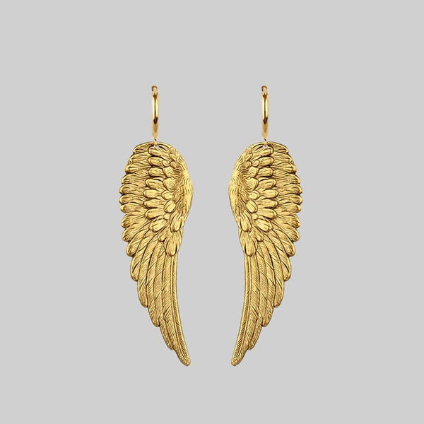 gold angel wing hoops