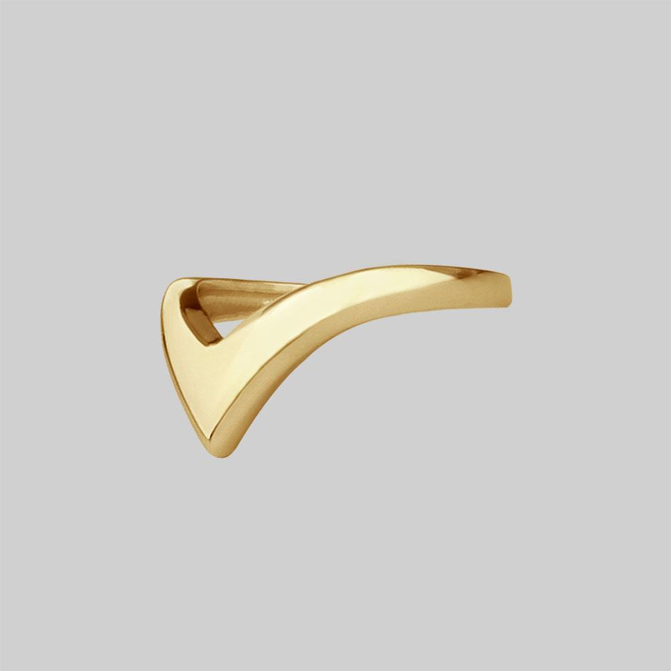 FARRAH. Deep Chevron Ring - Gold