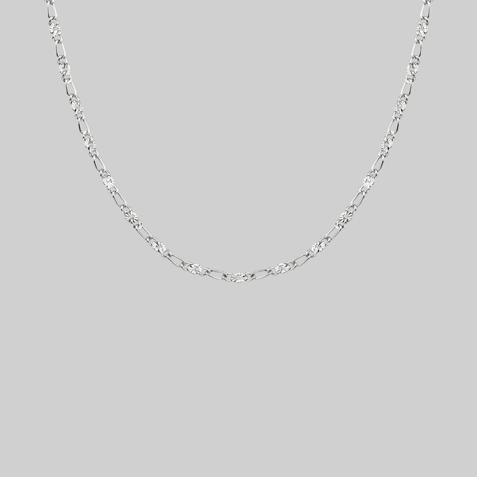 textured figaro silver layering chain necklace