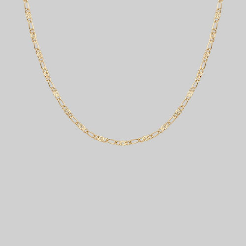 textured figaro gold layering chain necklace