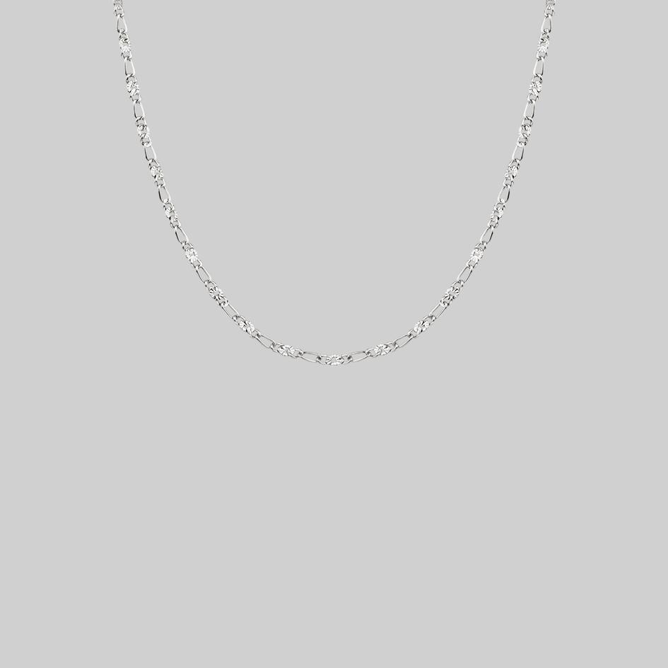 figaro sunburst silver chain necklace