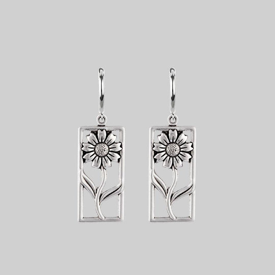 SERENA. Sunflower Hoop Earrings - Silver