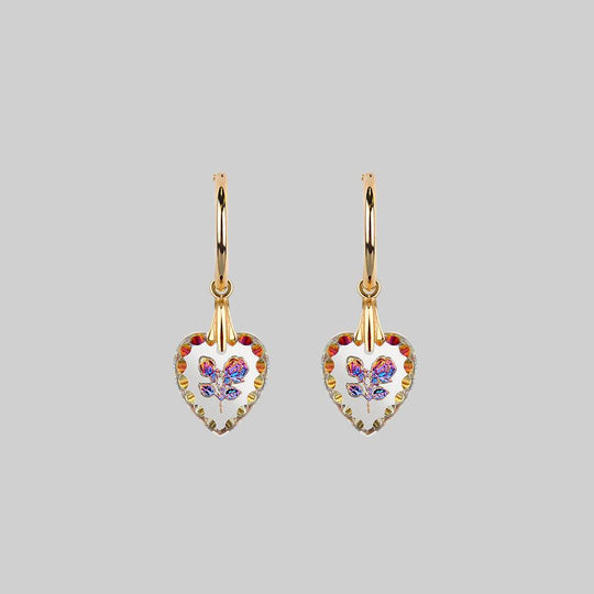 NANCY. Two Roses Engraved Glass Heart Earrings - Gold