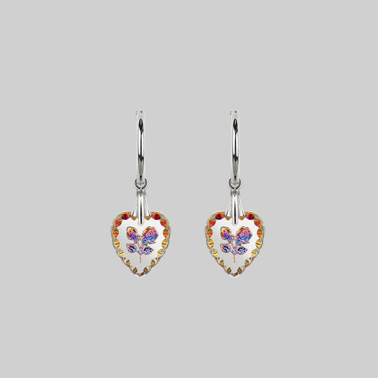 NANCY. Two Roses Engraved Glass Heart Earrings - Silver