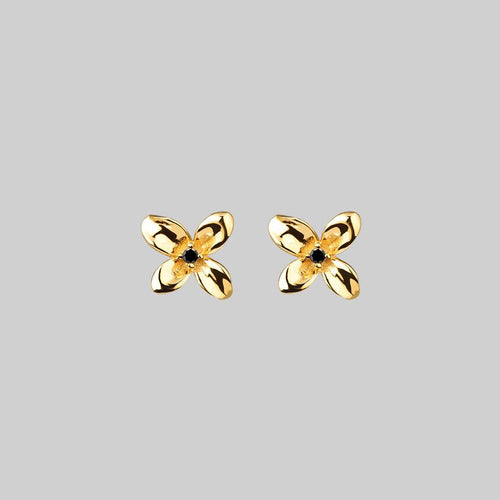 APRIL. Sunflower Heart Stud Earrings - Silver