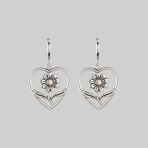 JUNE. Sunflower Heart Hoop Earrings - Silver