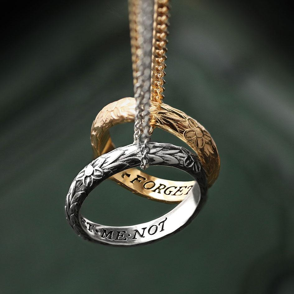 Posie ring, ring with words, ring necklace