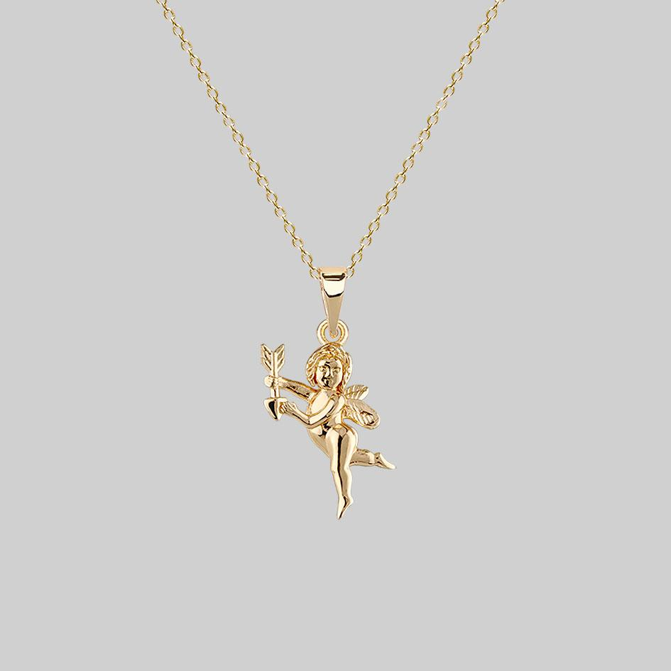 gold cupid necklace, love jewellery